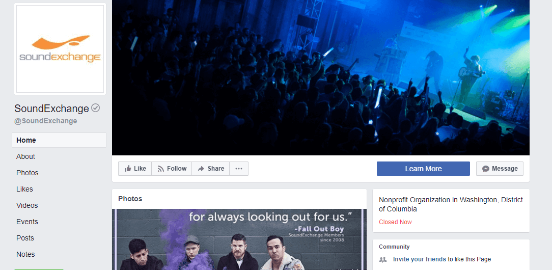 Facebook Musician Page Example